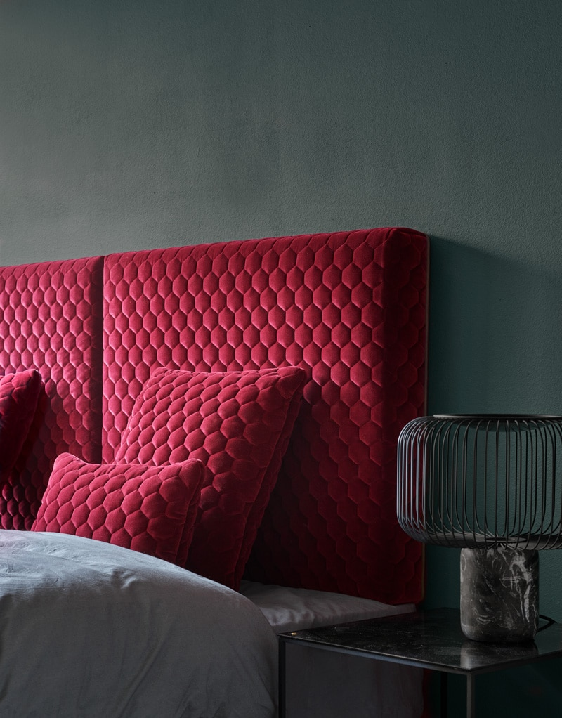 DIAMOND Headboard ruby velvet