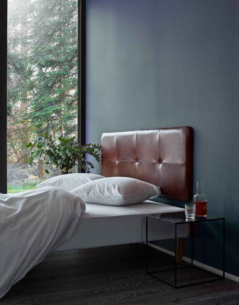 The Raw headboard - Coffee aniline leather