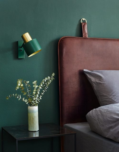 The M headboard coffee leather