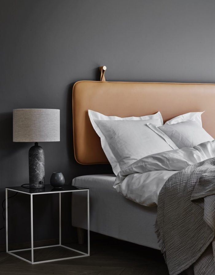 The M cream leather headboard