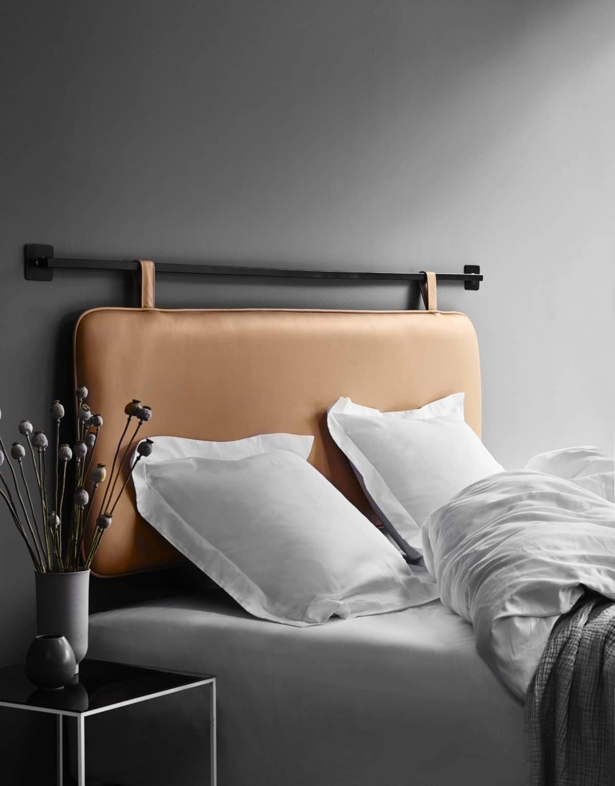 The M headboard - cognac aniline leather